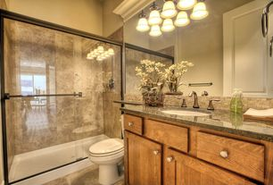 Rustic Full Bathroom with Arizona tile, DESERT AMARILLO, granite, Kitchen Craft, Plymouth, Cabinet door style, Raised panel