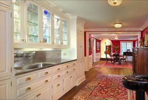 Traditional Bar with Undermount sink, flush light, Raised panel, Glass panel, One-wall, Hardwood floors, Stainless Steel