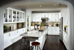 Modern Kitchen with Paint 1, Simple granite counters, Simple Granite, Flat panel cabinets, full backsplash, U-shaped