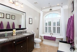 Traditional Full Bathroom with Double sink, Signature hardware oval shower curtain rod, Undermount sink, Flat panel cabinets