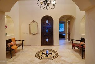 Mediterranean Entryway with Chandelier, Upton Home Loma Antique Black Finish Wood Bench, Cathedral ceiling, specialty door
