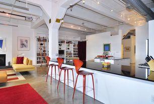 Contemporary Bar with Exposed beam, Carpet, Concrete floors, Ceiling fan, Pendant light