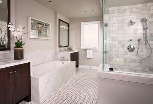 Contemporary Full Bathroom with Standard height, European Cabinets, Complex marble counters, Shower, Paint, Bathtub, Casement