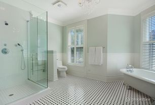 Traditional 3/4 Bathroom with Casement, Interior plantation shutters, can lights, Shower, Handheld showerhead, Clawfoot