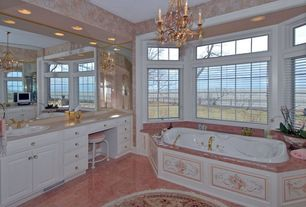 Traditional Master Bathroom with picture window, Standard height, Galleria of stone spring rose marble, can lights, Bathtub