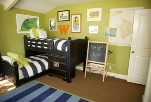 Modern Kids Bedroom with Ikea Mala Easel, Gallery wall, Exposed beam, High ceiling, Bunk beds, Carpet, Two panel doors