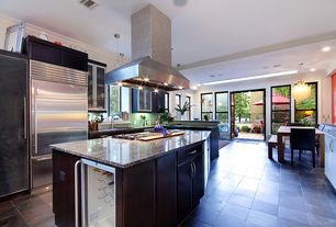 Contemporary Kitchen with Multiple Refrigerators, Wine refrigerator, Skylight, Casement, Standard height, can lights, Flush