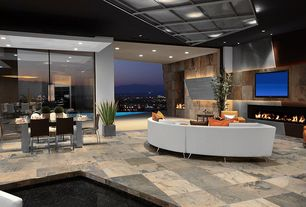 Contemporary Great Room with Paint 2, Paint 1, sliding glass door, Exposed beam, High ceiling, stone fireplace, can lights