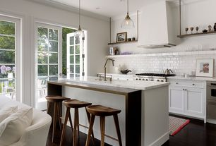 Cottage Kitchen with 20th c. factory filament clear glass dome pendant - aged steel, Wine refrigerator, Crown molding