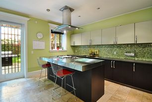 Contemporary Kitchen with One-wall, Flush, French doors, Soapstone counters, European Cabinets, Kitchen island, Ceramic Tile