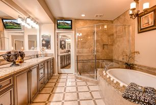 Contemporary Master Bathroom with Handheld showerhead, framed showerdoor, Standard height, Flat panel cabinets, Wall Tiles