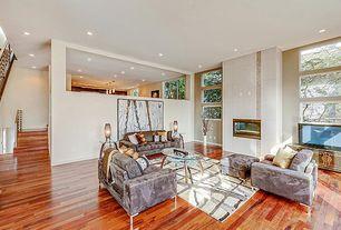 Contemporary Living Room with can lights, Hardwood floors, Casement, Standard height, Sunken living room, insert fireplace