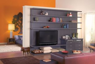 Contemporary Great Room with Built-in bookshelf, Laminate floors, High ceiling