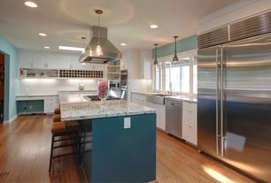Contemporary Kitchen with European Cabinets, dishwasher, Paint 1, gas cooktop, Farmhouse sink, Island Hood, Skylight, Flush