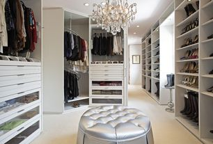 Contemporary Closet with Custom built-in closet, Polyurethane button tufted ottoman, Chandelier, Carpet