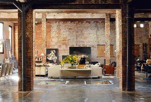 Contemporary Great Room with Columns, interior brick, Casement, Concrete floors, Standard height, Pendant light