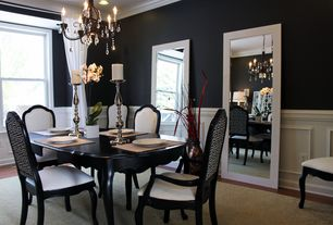 Traditional Dining Room with Hardwood floors, Abbot Mirror, Crown molding, Chair rail, Cabria Extension Dining Table