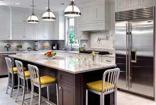 Traditional Kitchen with Silver Metal Counter Stools (Set of 2), Gray subway tile backsplash, Breakfast bar, Inset cabinets