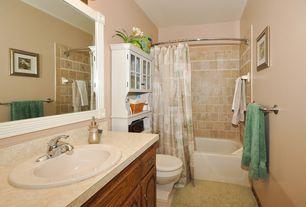 Traditional Full Bathroom with Formica counters, partial backsplash, Raised panel, curtain showerdoor, Bathtub, Wall Tiles