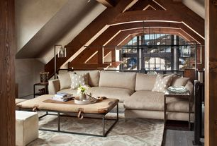 Contemporary Attic with Clear glass floor lamp, Hardwood floors, Metal frame coffee table, Sectional sofa, Exposed beam