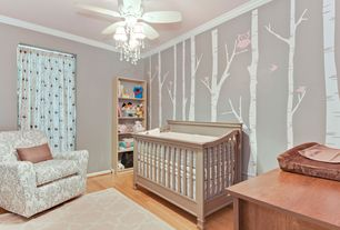 Contemporary Kids Bedroom with Little Castle Romeo Glider, Ameriwood 5-Shelf Bookcase, Hardwood floors, Mural, Crown molding