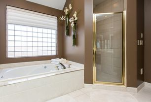 Contemporary Master Bathroom with Kohler - Mariposa Drop-In Whirlpool, Stained glass window, High ceiling, Master bathroom
