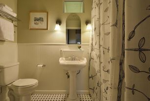 Cottage Full Bathroom with Wall sconce, Standard height, ceramic tile floors, Full Bath, Wainscotting, curtain showerdoor