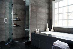 Contemporary Master Bathroom with Master bathroom, Salerno Porcelain Tile - Driftwood Series Manhattan, frameless showerdoor