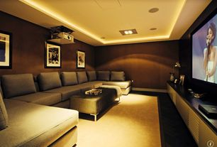 Contemporary Home Theater with Hardwood floors, Wood veneer wallcovering, Large ottoman