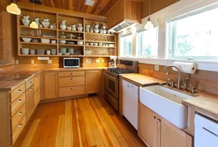 Country Kitchen with two dishwashers, Pendant light, Custom hood, European Cabinets, Casement, Apron sink - white, gas range
