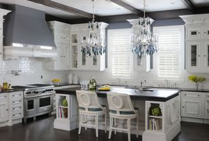"Traditional Kitchen with L-shaped, Soapstone counters, Nicolli blue crystal 12"" wide 4-light mini chandelier, Chandelier"