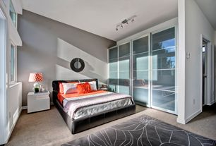 Modern Master Bedroom with Sliding glass closet door, Skyline furniture tufted platform bed