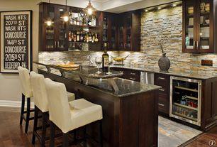Contemporary Bar with Built-in bookshelf, Pendant light, Crown molding, Hardwood floors, Standard height, stone tile floors