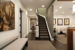 Contemporary Staircase with Elka 8mm dark walnut flooring, Hardwood floors, French doors