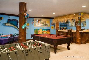 Tropical Basement with Columns, Built-in bookshelf, Garlando Master Cup Zaxxot with Sanded Glass Playfield, Crown molding