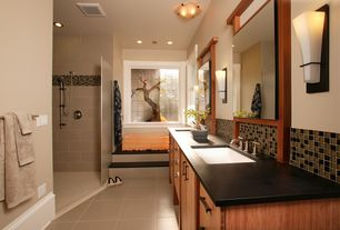 Asian Master Bathroom with Barrington Wall Sconce, European Cabinets, Undermount sink, Double sink, Ceramic Tile, Wall sconce