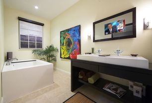 Contemporary Master Bathroom with can lights, Vero Console Bathroom Sink Set, drop in bathtub, Standard height, Bathtub