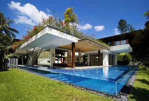 Modern Swimming Pool with Raised beds, Green roof, picture window, Rooftop garden, exterior stone floors, Glass pool wall