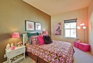 Contemporary Kids Bedroom with Standard height, no bedroom feature, double-hung window, Carpet