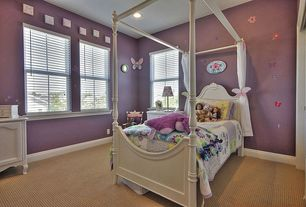 Modern Kids Bedroom with can lights, no bedroom feature, Standard height, double-hung window, Carpet