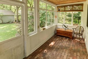Rustic Porch with picture window, Screened porch, Fence, Glass panel door, exterior brick floors