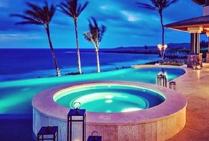 Tropical Swimming Pool with Restoration hardware santorini lanterns, Pool with hot tub, exterior stone floors