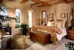 Mediterranean Master Bedroom with Standard height, Box ceiling, can lights, double-hung window, travertine floors