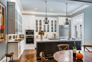 Traditional Kitchen with Restoration hardware harmon pendant - satin nickel, Flush, Transom window, Complex marble counters