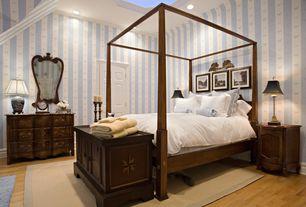 Traditional Guest Bedroom with interior wallpaper, Built-in bookshelf, Skylight, Hardwood floors