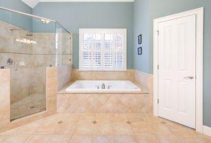 Traditional Master Bathroom with MS International Ginto Limestone, Master bathroom, frameless showerdoor, Rain shower