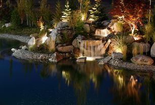Rustic Landscape/Yard with natural garden, Water feature, garden lighting, Pond, Waterfall