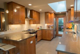 Contemporary Kitchen with Pendant light, French doors, Undermount sink, Bocci 14.1 Single Pendant, Simple granite counters