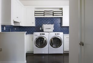 Traditional Laundry Room with Farmhouse sink, Built-in bookshelf, Laminate floors