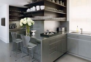 Contemporary Kitchen with Stainless steel counters, Paint 1, European Cabinets, Stainless Steel, full backsplash, U-shaped